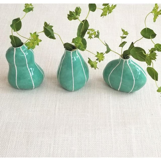 Contemporary Green Bud Vases - Set of 3 For Sale - Image 3 of 6