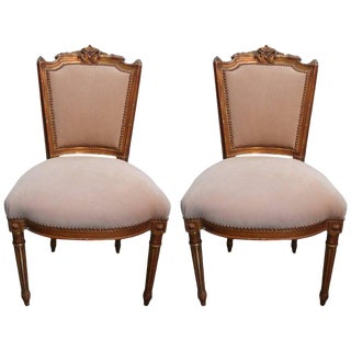 19th Century French Louis XVI Style Gilt Wood Chairs- a Pair For Sale