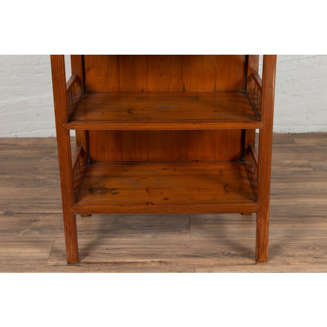 Vintage Chinese Two-Part Elmwood Bookcase With Pillar-Shaped Strut Motifs For Sale - Image 10 of 13