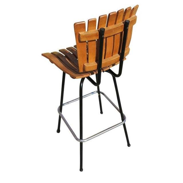 Arthur Umanoff Style Slat Wood Bar Stools, Pair For Sale - Image 5 of 6