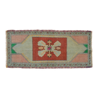 """Soft Colors Low Pile Turkish Yastik Petite Rug Hand Knotted Distressed Mat - 1'6"""" X 3'4"""" For Sale"""