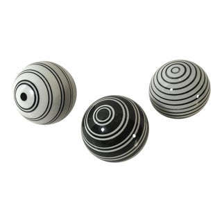 Black and White Glass Carpet Balls - Set of 3