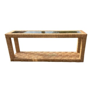 Monumental Coastal Ralph Lauren Woven Jute and Rattan Console For Sale