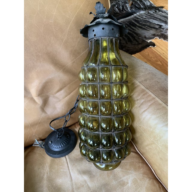 Green 1960s Murano Glass Caged Pendant Light For Sale - Image 8 of 9