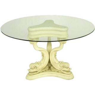 Regency Style Dolphin Dining Table in Glazed Ivory Lacquer For Sale