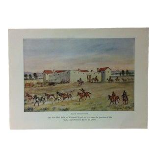 "Americana Color Print on Paper, ""Old Fort Hall - Built by Nathaniel Wyeth in 1834"" by w.h. Jackson, Circa 1940 For Sale"