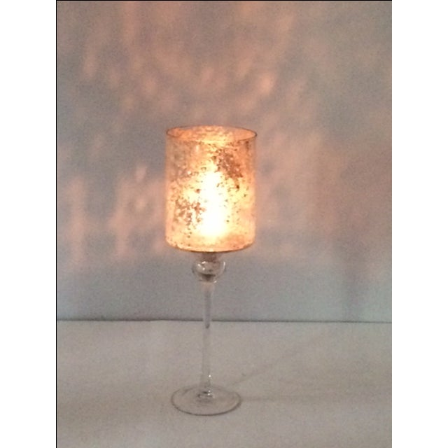 Tall Modern Cylindrical Mercury Glass Candleholder - Image 3 of 6