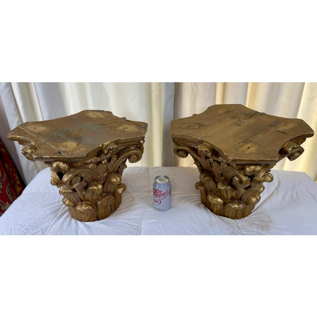 1940s Hand Carved Wood Corinthian Order Capitals - a Pair For Sale - Image 4 of 9