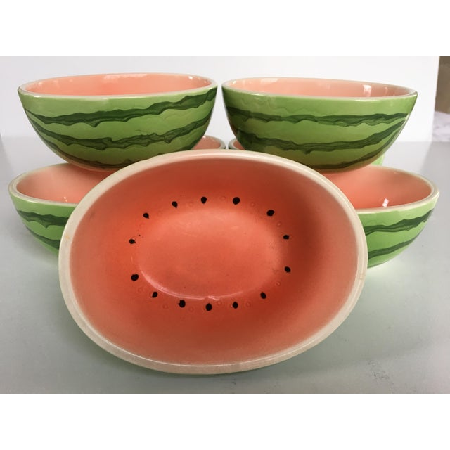 1970s Vintage Japanese Hand Painted Watermelon Shaped Bowls - Set of 7 For Sale - Image 5 of 13