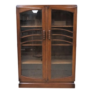 Vintage English Deco Bookcase With Glass Doors and Wood Handles For Sale