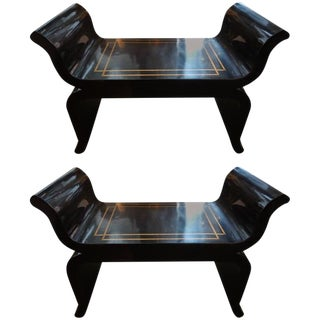 1960s Hollywood Regency Black Lacquered Benches - a Pair For Sale