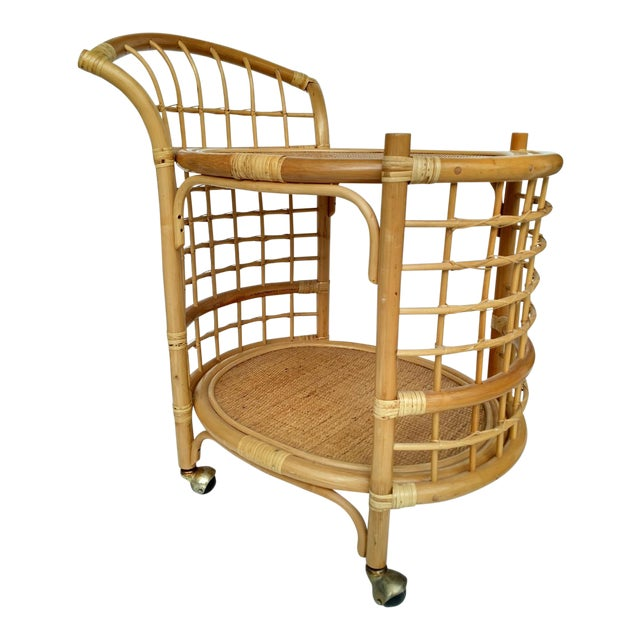 1970's Rattan 2-Tier Bar Cart with Swivel Casters - Image 1 of 8