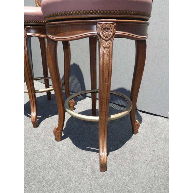 Vintage French Provincial Leather & Cane Bar Stools - A Pair - Image 9 of 11