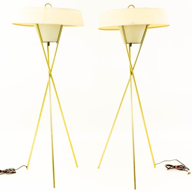 Brass Gerald Thurston for Lightolier Mid Century Brass Tripod Floor Lamps - Pair For Sale - Image 8 of 8