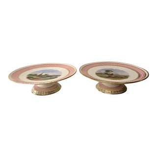 Pair of Antique 19c Aynsley Pink Porcelain Hand Painted Scenic Cabinet Plate Tazzas For Sale