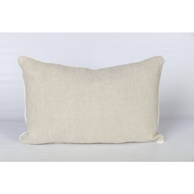 Oatmeal Linen Fretwork Lumbar Pillow For Sale - Image 4 of 6