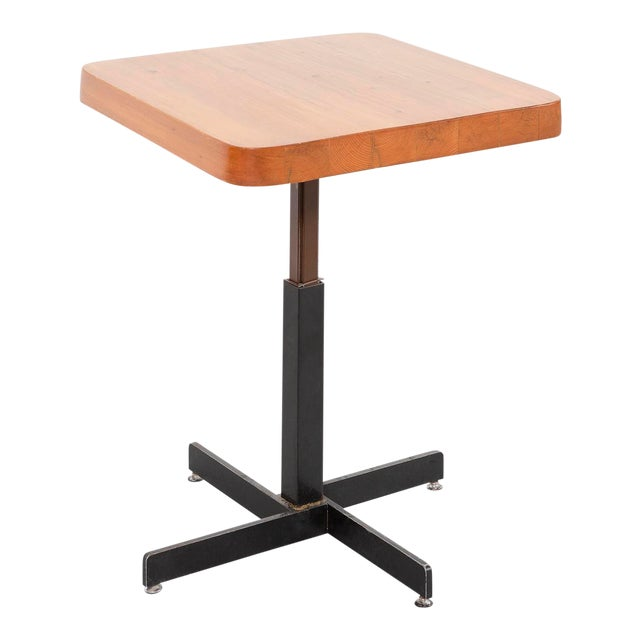Les Arcs Adjustable Square Table by Charlotte Perriand For Sale