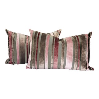 Custom Made Designer Scalamandre Pink and Grey Cut Velvet Pillows - Set of 2 For Sale