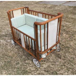 1950s Art Deco Baby Crib Made Into a Pet/Dog Bed Preview