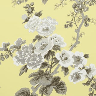Sample - Schumacher Pyne Hollyhock Wallpaper in Buttercup For Sale
