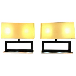 Pair of Tommi Parzinger Fashioned Table Lamps With Custom Shades For Sale