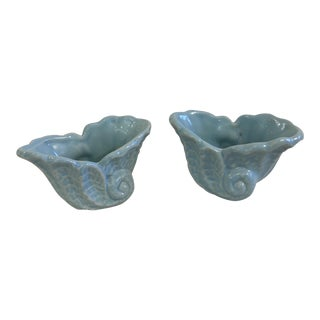 Vintage Blue Ceramic Shell Planters - A Pair