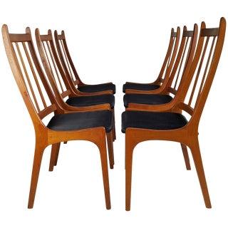 Teak Dining Chairs, Made in Denmark Kai Kristiansen - Set of 6 For Sale