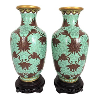 20th Century Jade Green Cloisonné and Brown Lotus Flower Vases With Wood Stands - a Pair For Sale