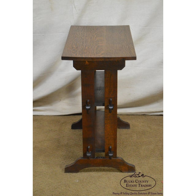"""1910s Roycroft """"The Roycrofters"""" Arts & Crafts Mission Oak Little Journeys Book Stand For Sale - Image 5 of 13"""