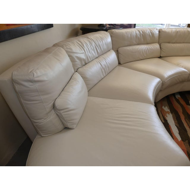 Italian Bloomingdale's Chateau d'Ax Italian Leather Sectional Sofa With Ottoman For Sale - Image 3 of 12