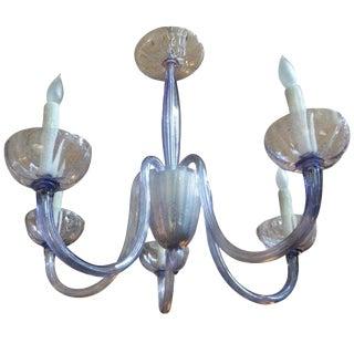 1970s Venini Style Murano Glass Chandelier-Violet Color For Sale