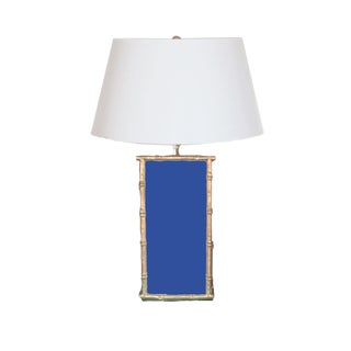 Bamboo Lantern in Navy With White Shade For Sale