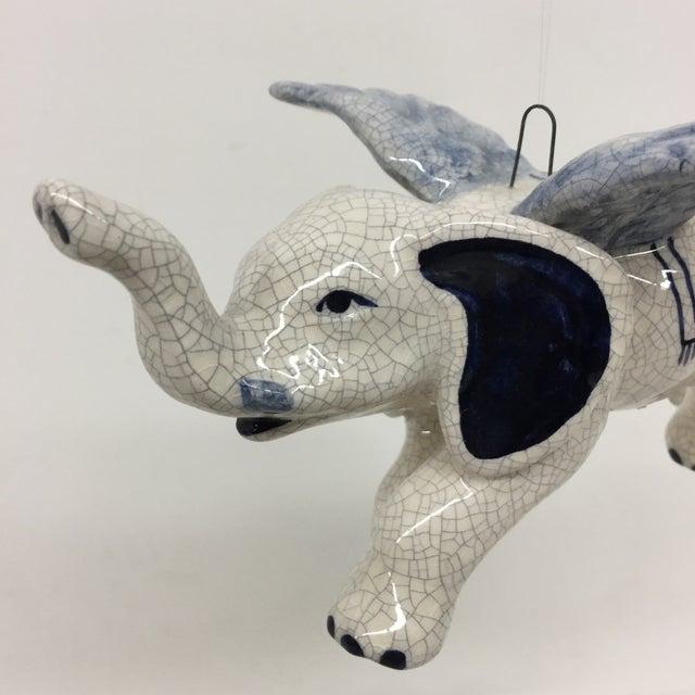 Boho Chic Hand Painted Artisan Ceramic Flying Elephant For Sale - Image 3 of 11