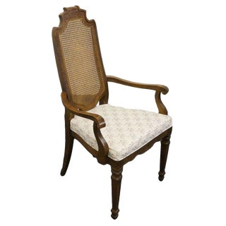 Late 20th Century Vintage Drexel Heritage Talavera Collection Spanish Revival Cane Back Arm Chair For Sale