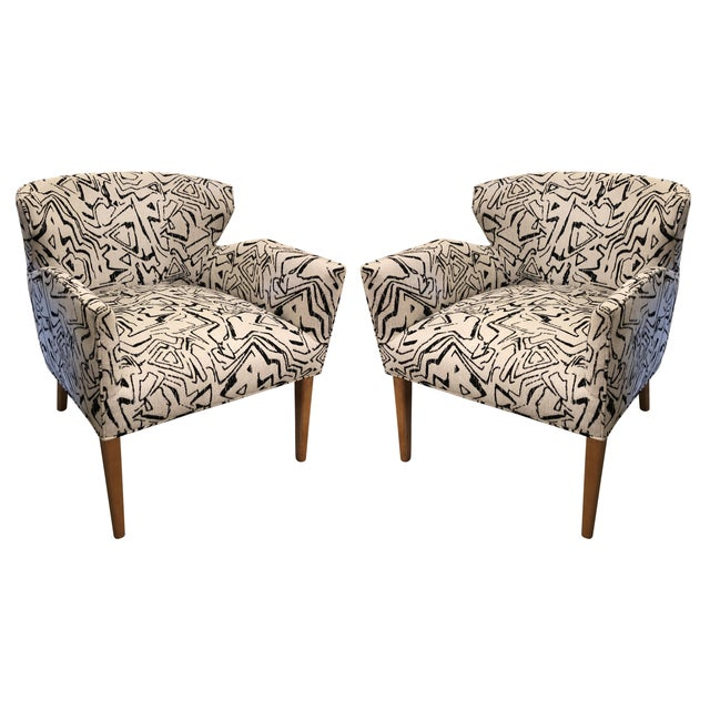 Fabric Vintage Newly Upholstered Club Chairs - a Pair For Sale - Image 7 of 7