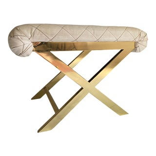 Leather X-Bench With Brass Base by Weiman - Made in Italy For Sale