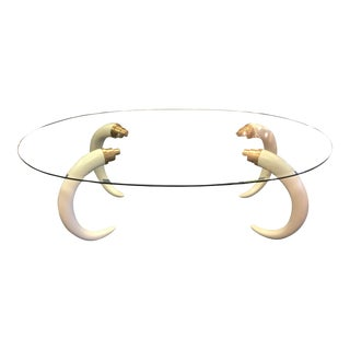 Mid-Century Modern Glass Top Tusk Dining Table