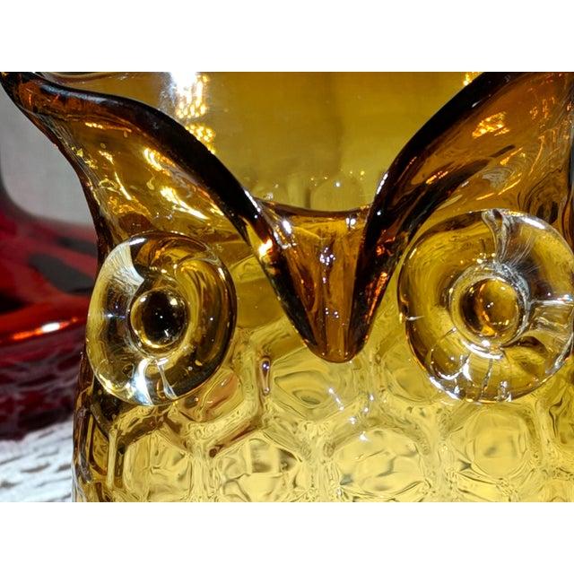 Murano Blown Amber Glass Owl Shaped Candle Holder Vase For Sale - Image 4 of 13