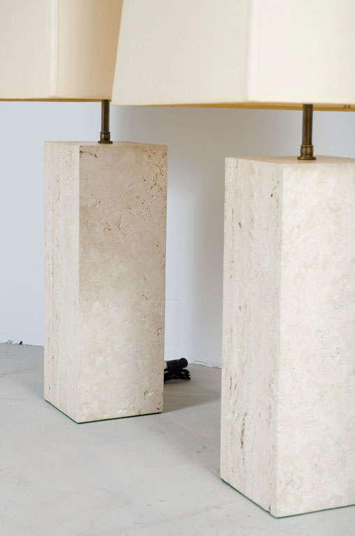 Substantial Travertine Square Column Table Lamps   A Pair   Image 3 Of 5