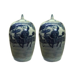 Lot of 2 Blue White Small Oriental Graphic Porcelain Point Lid Jars For Sale