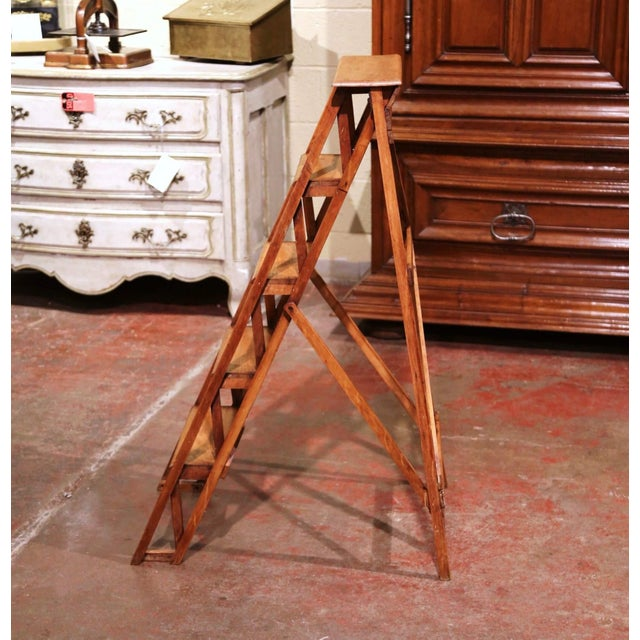 Late 19th Century 19th Century French Napoleon III Carved Walnut Folding Library Five-Step Ladder For Sale - Image 5 of 10