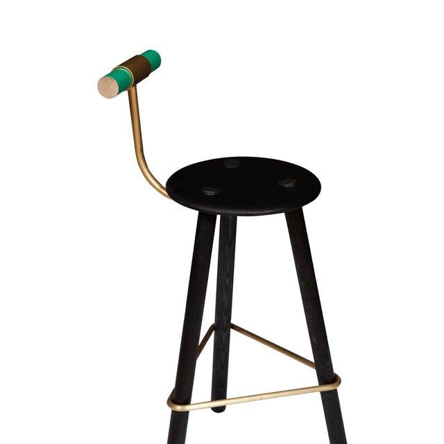 Erickson Aesthetics Charred Ash Tripod Stool with Backrest For Sale - Image 4 of 5