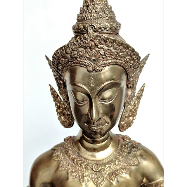 Thai Goddess Brass Sculpture For Sale - Image 9 of 13