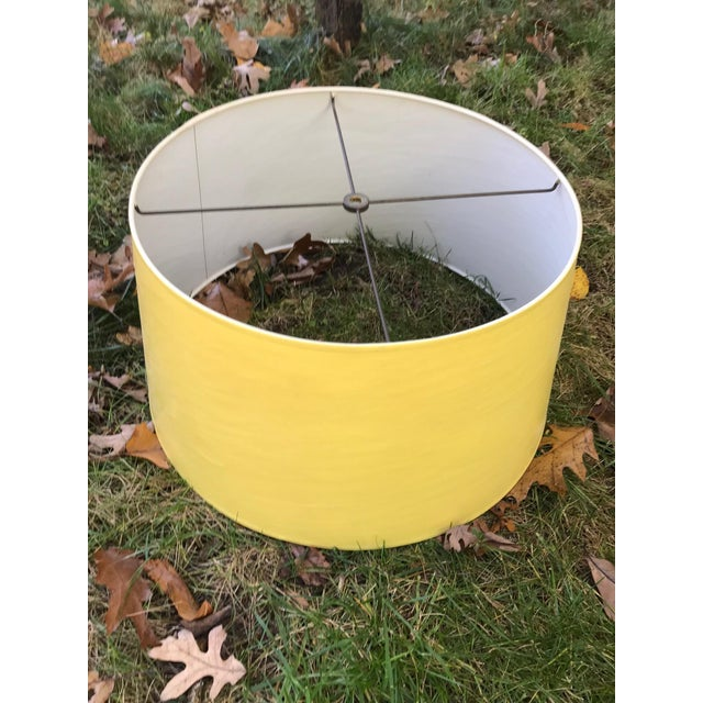 Vintage Yellow High Gloss Drum Shade For Sale - Image 5 of 6