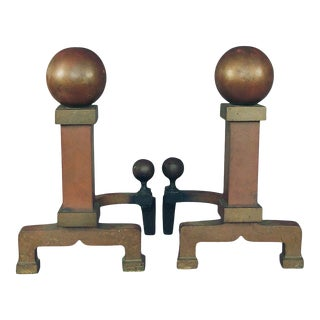 1920s Large Arts & Crafts, Mission-Style Cannonball Andirons- a Pair For Sale