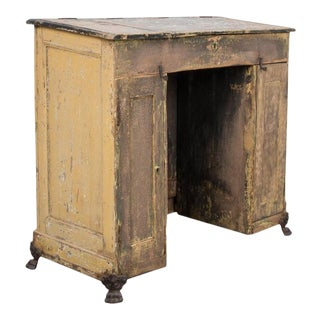 Antique Patinated French Clawfoot Desk For Sale