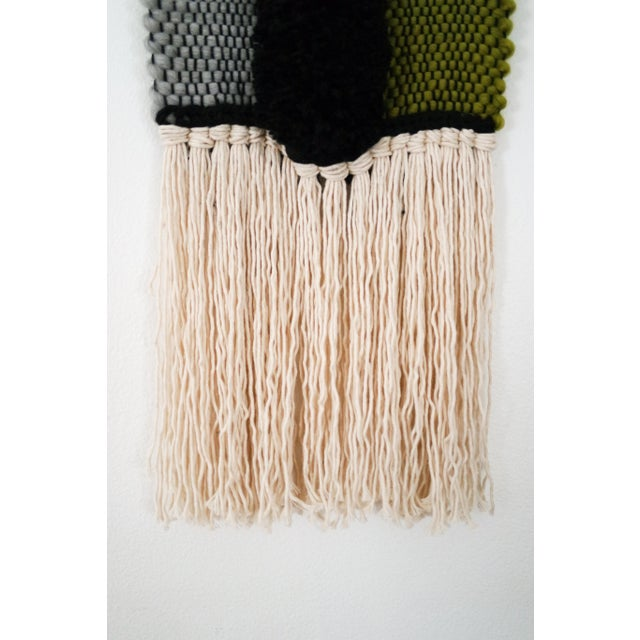 Handwoven Blue, Green, Tan, Grey, Black, and Cream Wall Hanging - Image 3 of 6