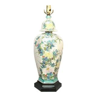 Paul Hanson Floral Porcelain Ginger Jar Lamp For Sale