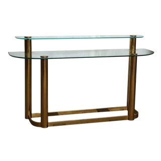 Modern Two Tier Glass Brass Console Table For Sale