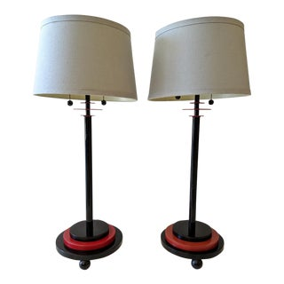 Memphis Styled, 1980's Disc Table Lamps, a Pair For Sale